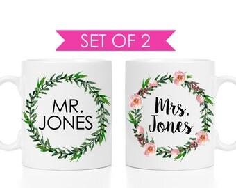 Mr and Mrs Personalized Mug Set | Bride and Groom Gift | Mr and Mrs Anniversary Mugs | Wedding Couple Mug Set | Affordable Wedding Gifts