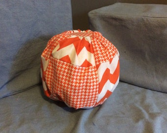Chevron and Houndstooth cotton stuffed pumpkin- medium