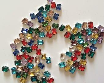 Rhinestone sertisse 6 * 8 has sew multicolor Crystal AB