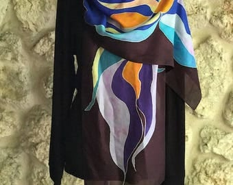 """Silk hand painted scarf """"Blue Lilly"""""""