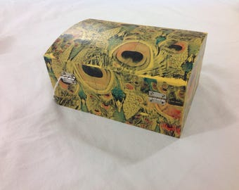 Yellow peacock jewellery chest