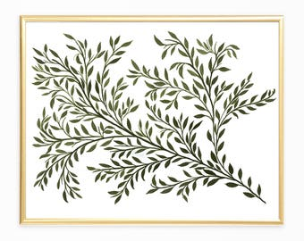 Green Botanical Art,Botanical Printable Art, Modern Botanical Art, Instant Download , Boho Botanical ,Nature Printables, Modern Art Prints