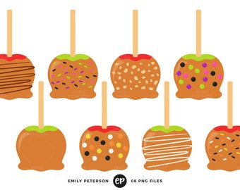 50% OFF SALE! Caramel Apples Clip Art, Candy Apples Clipart, Halloween Candy Clip Art - Commercial Use, Instant Download
