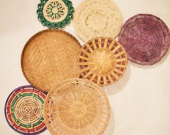 Woven Wicker Wall Baskets/ Set of 7/ Wall Art Decor/Trivet/Boho Bohemian