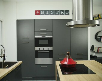 "Wall decal ""#BISTRO"" grey and Burgundy - Large - Scrabble letters"