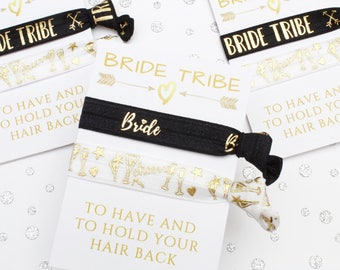 Bachelorette Party Favors - Bridal Shower Gifts - Bachelorette party bags - Hen party bags - Hen Party Favours - Bride Tribe Hair Ties