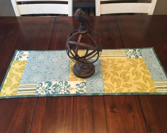 Teal blue and green reversible table runner