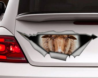 Sheep car decal, funny car decal, farm decal, sheep  sticker, animal sticker