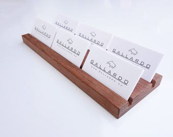 Wooden Multiple Business Card Holder. 2 x 3 Card Slot. Wood Paper Stand. Wood Calendar Stand. Jatoba wood.