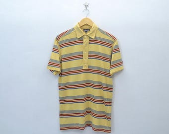 STUSSY Vintage 90's Stussy Made In USA Multicolor Striped Polo Tee T Shirt Size M