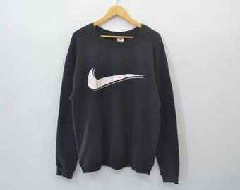 NIKE Vintage 90's Nike Swoosh Big Logo Pullover Crewneck Sweater Sweatshirt Size L