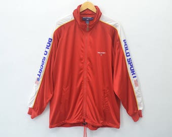POLO SPORT Ralph Lauren Vintage 90's Polo Sport Ralph Lauren Polo Sport Spell Out 100% Nylon Zipper Jacket Sweater Size L