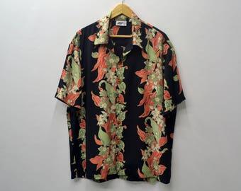 Hawaiian Shirt BULL HEAD Vintage 90s Bull Head Hawaiian Floral Theme Button Down Made in usa 100% Tee TShirt Size M