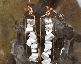 Howlite and Copper Earrings