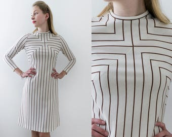 70's Vintage Mod Dress Ivory Color with Brown Stripes  by Leslie Fay Size S