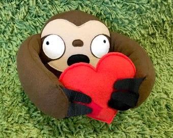 Valentine's Day Sloth Plush Toy with Velcro Heart
