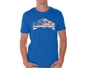 USA Flag Inside T shirts for Men Shirts  USA Tshirts Tops Tees Independence Day American Flag shirt America shirt