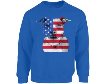 USA Flag Pitbull Sweatshirt Tops Crewneck American Pitbull 4th of July Gift Independence Day