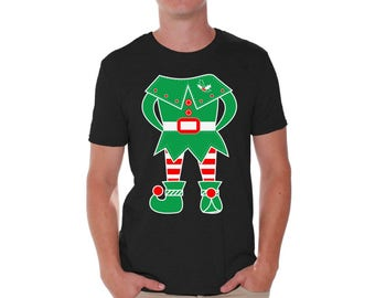 Elf Costume Holiday Shirts for Men Tacky Christmas Tshirts for Men Elf Costume Shirt for Men Christmas Costume Elf Shirt Xmas Gifts for Him