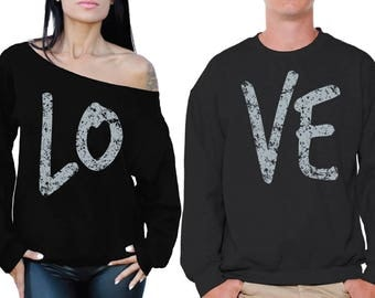 Love Couple Sweatshirts Love Off Shoulder Sweatshirt Valentine's Day Gift Boyfriend Girlfriend Anniversary Gifts for Husband and Wife