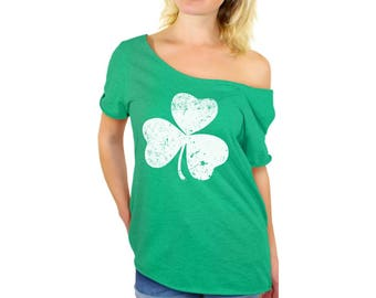 Clover Leaf Off Shoulder Tshirt Shamrock Green Off The Shoulder Top Irish Lucky Dolman Top Irish Party Shirts for Women St. Patrick's Day
