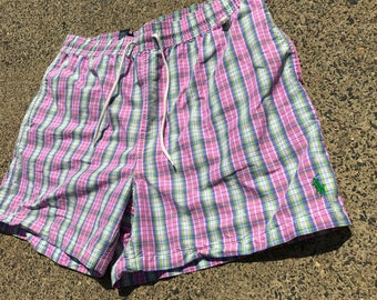 Polo Ralph Lauren Plaid Shorts/Trunks pink/white/green Large