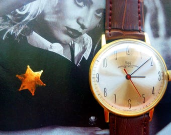 Men's watches Luch USSR gilded 23 stones. Gold plated,original. Vintage Soviet Union. Expensive gift father. Birthday present. Classic clock