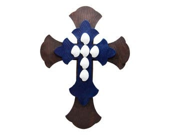 Large Wall Cross Rustic Wall Cross Wood Wooden Wall Cross Rustic Wall Cross Decorating Home Wall Decor Sculture Navy Blue Brown White