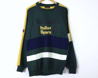 Rare!!! Vintage Gianni Valentino Italy Sweatshirt GV Multicolors Spellout Spellout Big Logo Pullover Jumper Sweater