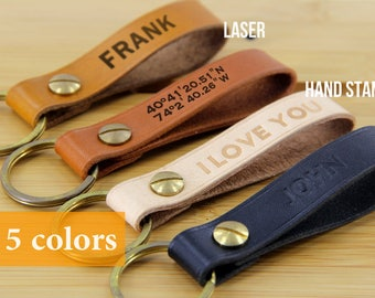 Mens keychain mens personalized key fob fathers day keychain leather key chain personalized custom keychain leather custom leather keychain