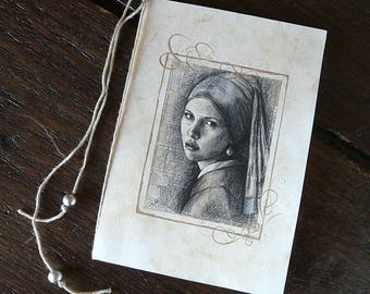 """""""The girl with a Pearl"""" card with illustration"""