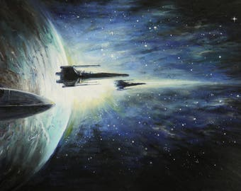 Star Wars Painting - X-Wing Eclipse - Star Wars Rogue one  - X-wing mounted oil painting