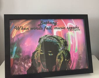 Personalised 'When Words Fail, Music Speaks' Print with Frame
