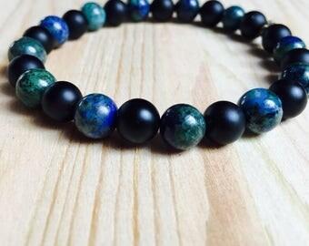 Protect & Heal Mala Bracelet, Black Onyx and Azurite for power healing, balance and direction. Yoga beads, yoga bracelet, crystal beads.