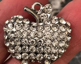 3 sparkling mostly rhinestone apple charms - silver tone - crystal - very nice quality - great for DIY jewelry making - pendants