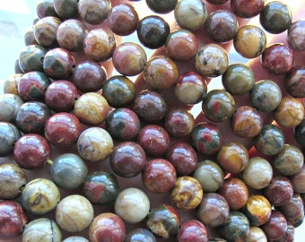 8mm picasso jasper, red creek jasper beads, full strand, picasso jasper, Jasper beads, gemstone beads, bracelet beads, US seller, gemstones