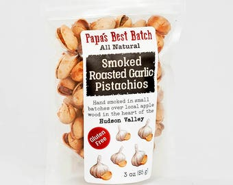 Roasted Garlic Smoked Pistachio Nuts - 3oz. Bag Papa's Best Batch-Gluten Free, Hand Smoked in Small Batches, All Natural, Non-GMO Pistachios