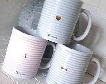 Mug en céramique, rayé blanc et bleu ciel à motifs couronne et coeur