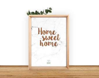 "Poster A3 ""Home Sweet Home"" marble and acacia writing background"