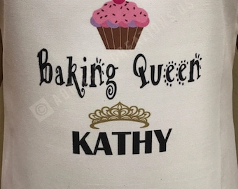 Personalized Apron 'Baking Queen with name' (White)