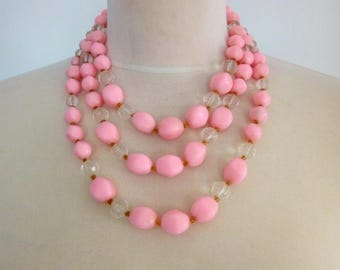 Beaded Statement Necklace Multi Strand in Pink, Pale Pink Beaded Necklace, Pink Jewelry, Beaded Necklace, Light Pink Necklace