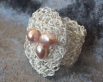 Pearl ring silver ring silver wire ring crochet crochet silver ring with Pearl ring wire jewellery
