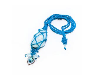 Macrame pendant. Amazonite pendant. Turquoise stone