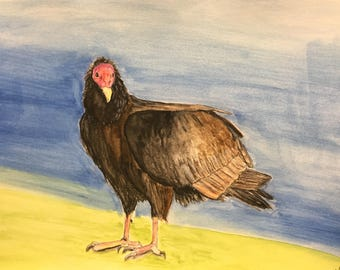 ON SALE:  Turkey Vulture.  Watercolor on Paper.  7x10.