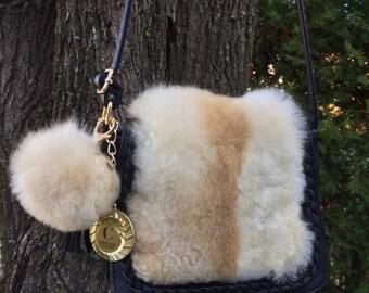 Sac a main en Alpaga, Fourrure Alpaga, Recycled Alpaca Fur, Handbag, Black Leather and Alpaca Bag, Gift for mom girlfriend wife