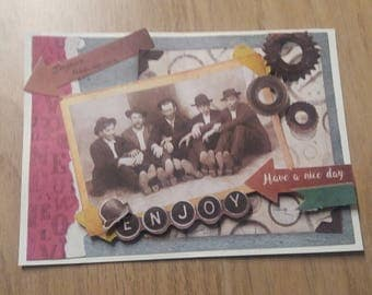 Vintage - birthday card - black & white photo card