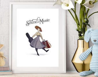 Vintage movie print from The Sound of Music. Wall art celebrating this film musical classic starring Julie Andrews.