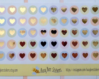 Heart Planner Stickers, Foil Stickers, Foiled Stickers, Heart Stickers, Real Foil, Happy Planner Stickers, Erin Condren Stickers.