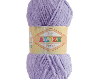 10 x 50 g soft yarn fluffy wool SOFTY by ALIZE purple No. 158