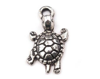 50 turtle pendant, turtle, 13 x 24 mm, silver